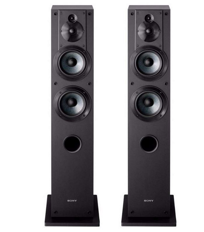 pair of black Sony SSCS3 tower speakers