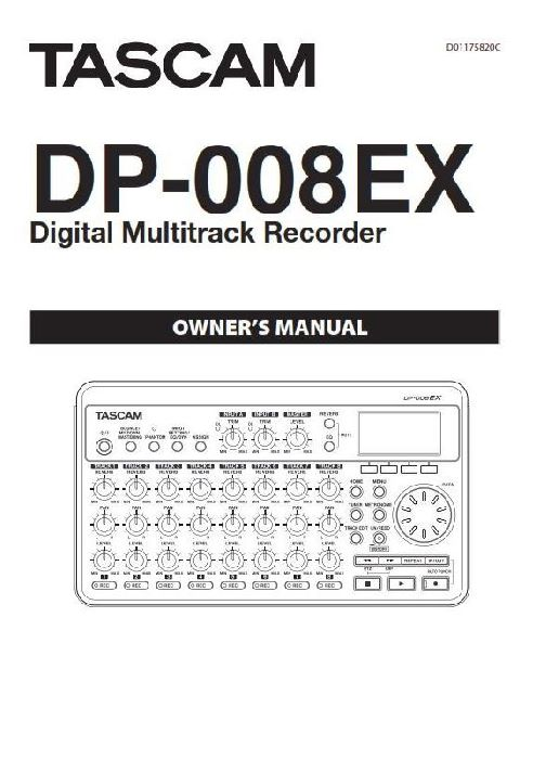 Tascam DP-008EX Manual